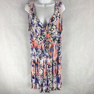 Style & Co XL Rayon Tribal Purple Boho Sun Dress
